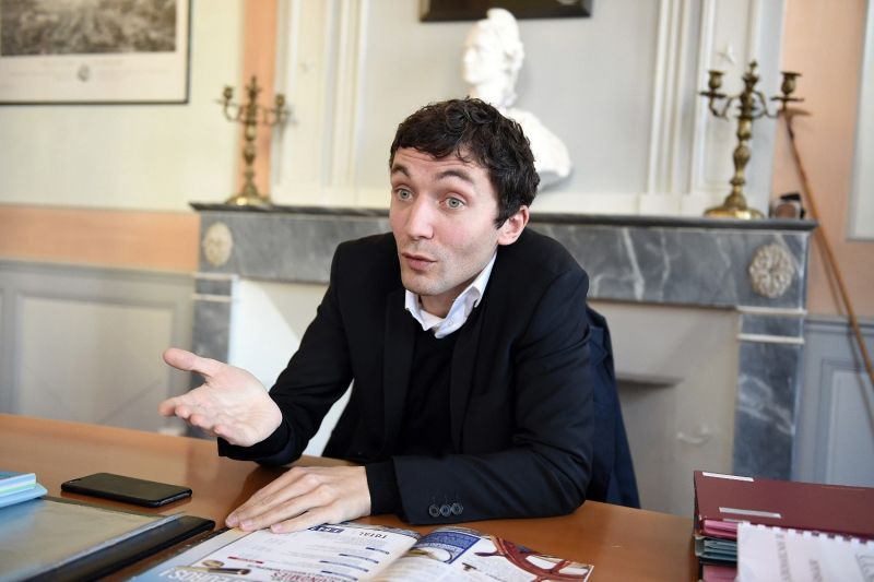 French National Front mayor of Beaucaire, Julien Sanchez, poses in his office.