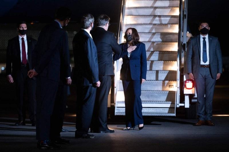 U.S. Vice President Kamala Harris steps off Air Force Two.