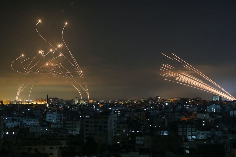 The Israeli Iron Dome missile defense system intercepts missiles.