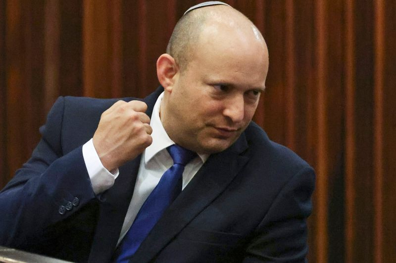 Naftali Bennett, an Israeli parliament member from the Yamina party, gestures during a special session of the Knesset.