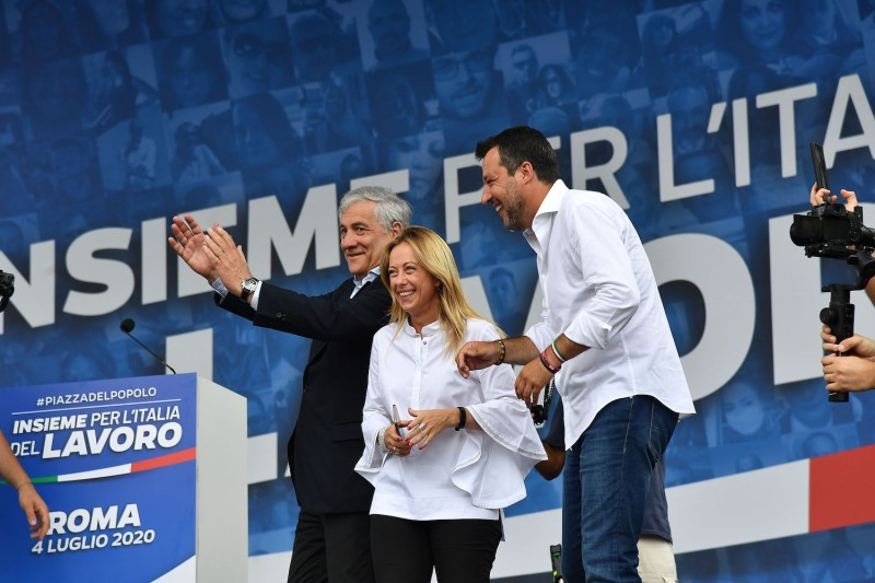 Head of the League party Matteo Salvini (right), head of the Brothers of Italy party Giorgia Meloni (center), and co-founder of the Forza Italia party Antonio Tajani