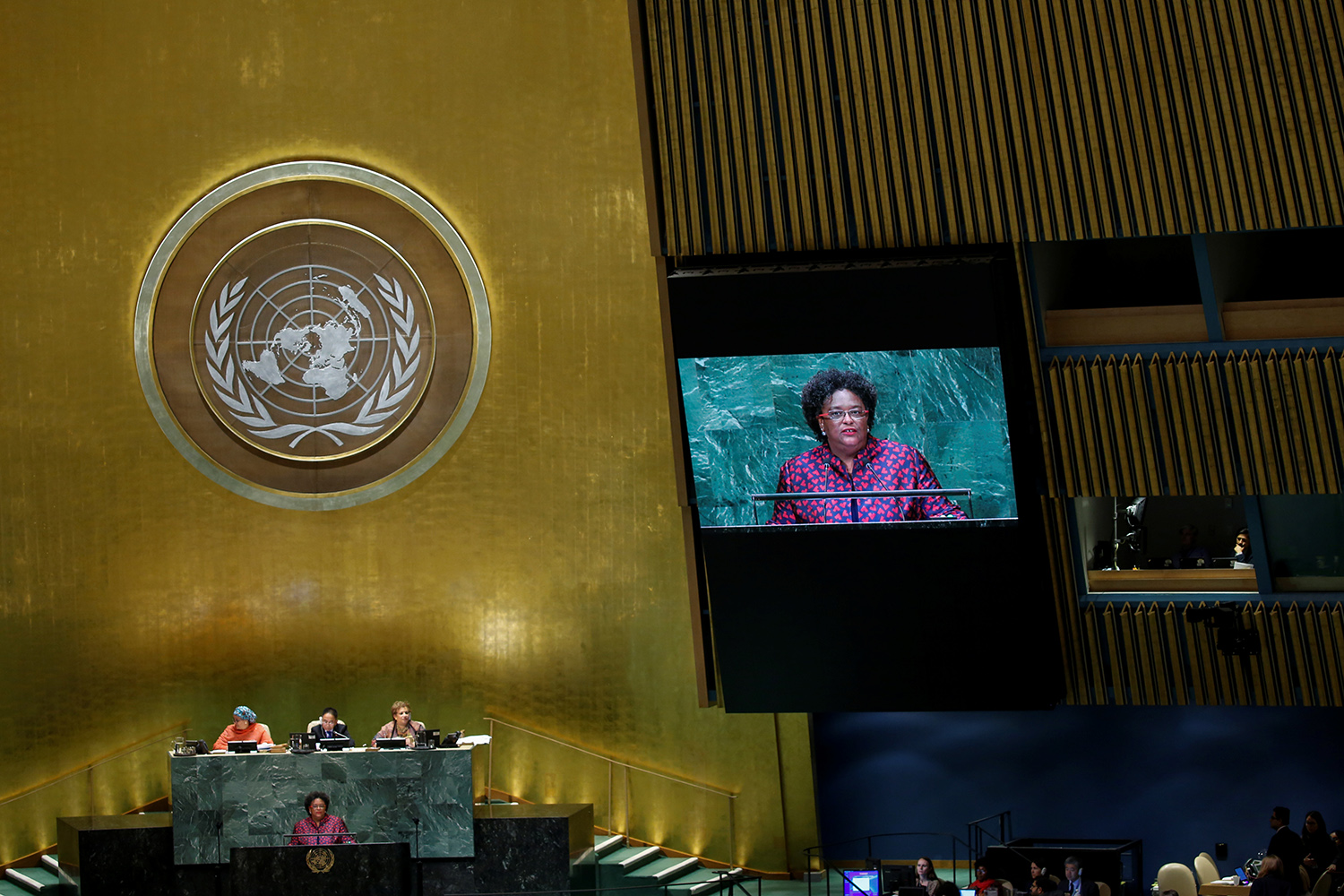 Barbados Prime Minister Mia Mottley addresses the 73rd session of the United Nations General Assembly at the U.N. headquarters in New York on Sept. 28, 2018..