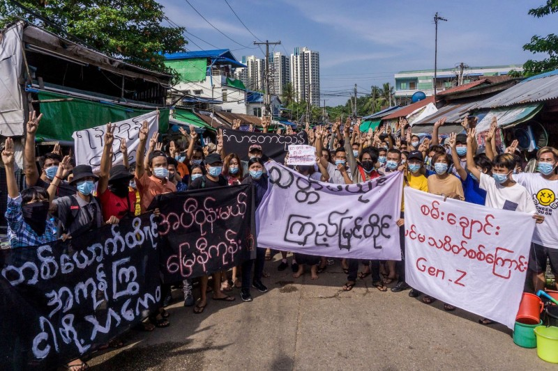Protesters take part in a demonstration against the military coup in Myanmar.