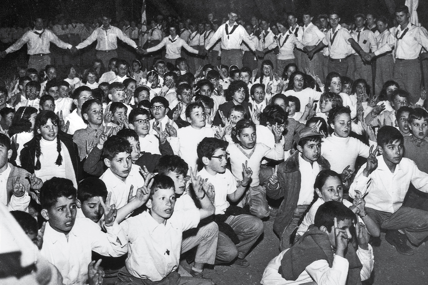 A young Benjamin Netanyahu is among the children at a scouts event in Jerusalem in 1957.