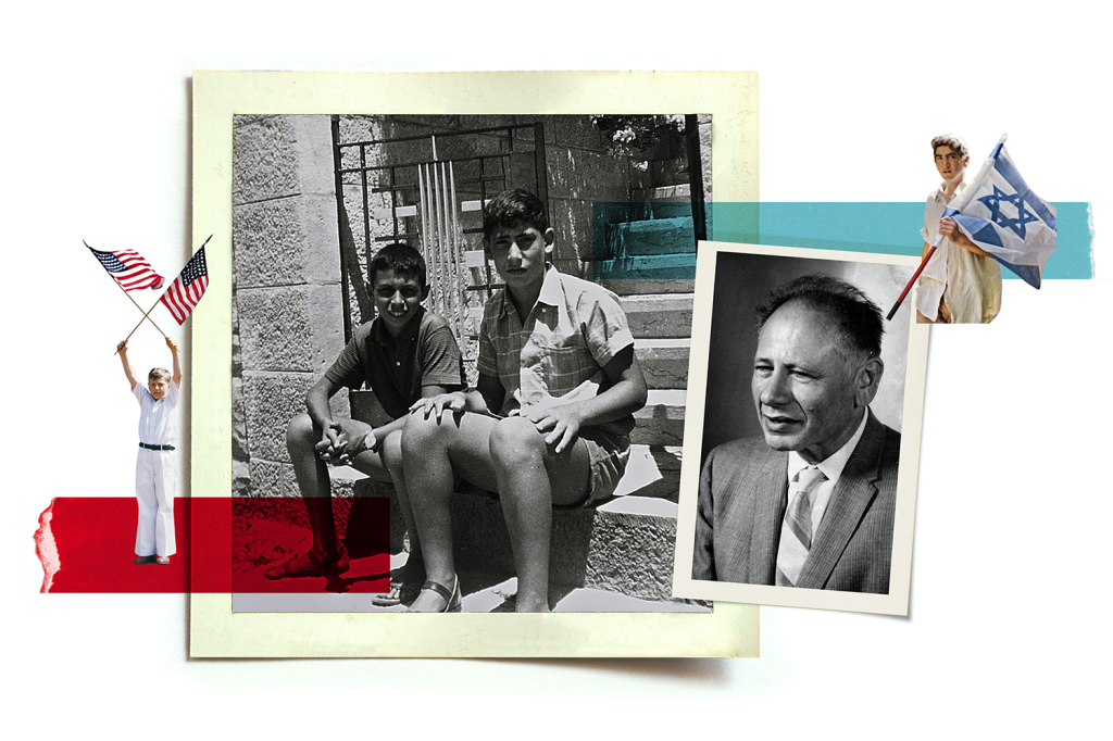 Benjamin Netanyahu with an unidentified friend at the entrance to his family home in Jerusalem in 1967, and his father, Benzion Netanyahu, when he was a professor at the University of Denver in 1968.