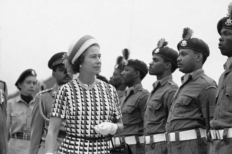 Britain's Queen Elizabeth II visits Barbados in the 1970s.