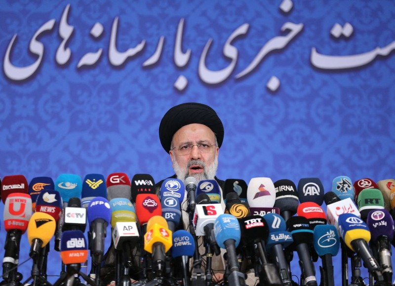 Iranian President-elect Ebrahim Raisi speaks during his first press conference in Tehran.