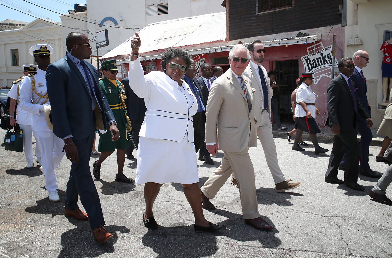 Barbados Prime Minister Mia Mottley gives a tour to Charles, the Prince of Wales