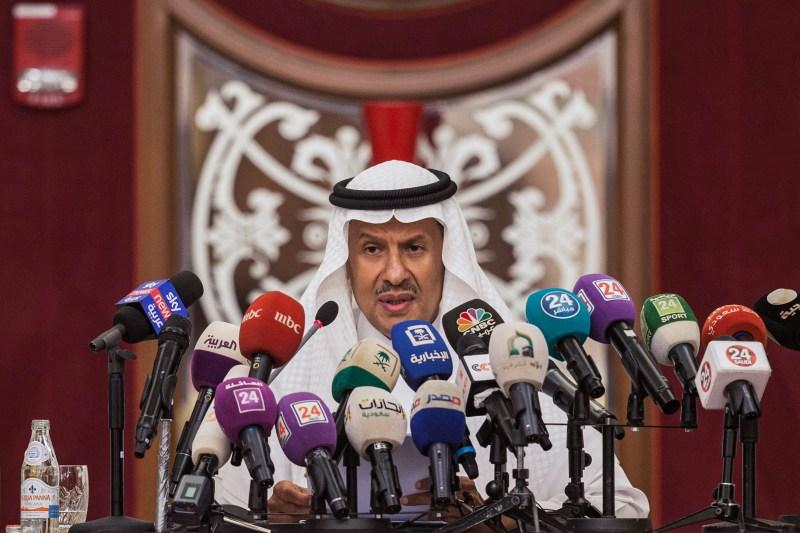 Saudi Energy Minister Prince Abdulaziz bin Salman gives a press conference in Jeddah, Saudi Arabia, on Sept. 17, 2019.