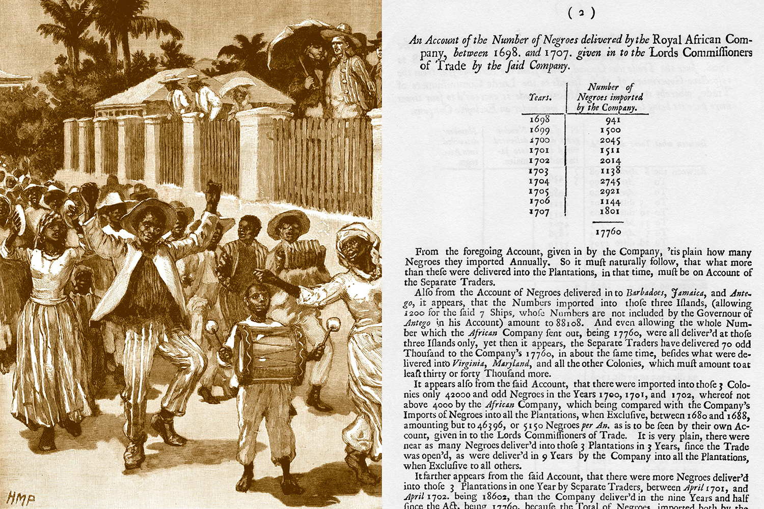 Left: A depiction of the emancipation of slaves in Barbados in 1833. Right: An account of the number of Africans delivered to the islands of Barbados, Jamaica, and Antigua for the years 1698-1701.