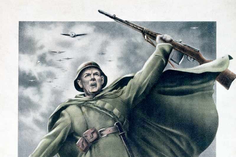 A World War II Soviet propaganda poster by N. Zhukov and V. Klimashin depicting, a Red Army soldier, circa 1941. The text reads: 'Let's Fight For Moscow!'. (Photo by: Laski Diffusion/Getty Images)