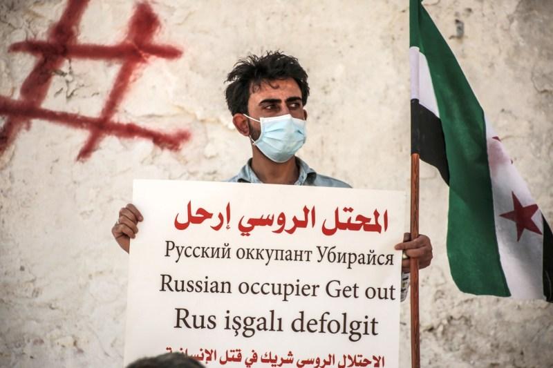 Protest against Russia in Idlib, Syria