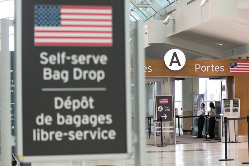 Empty security gates to the U.S. check-in area at Pearson International Airport in Toronto