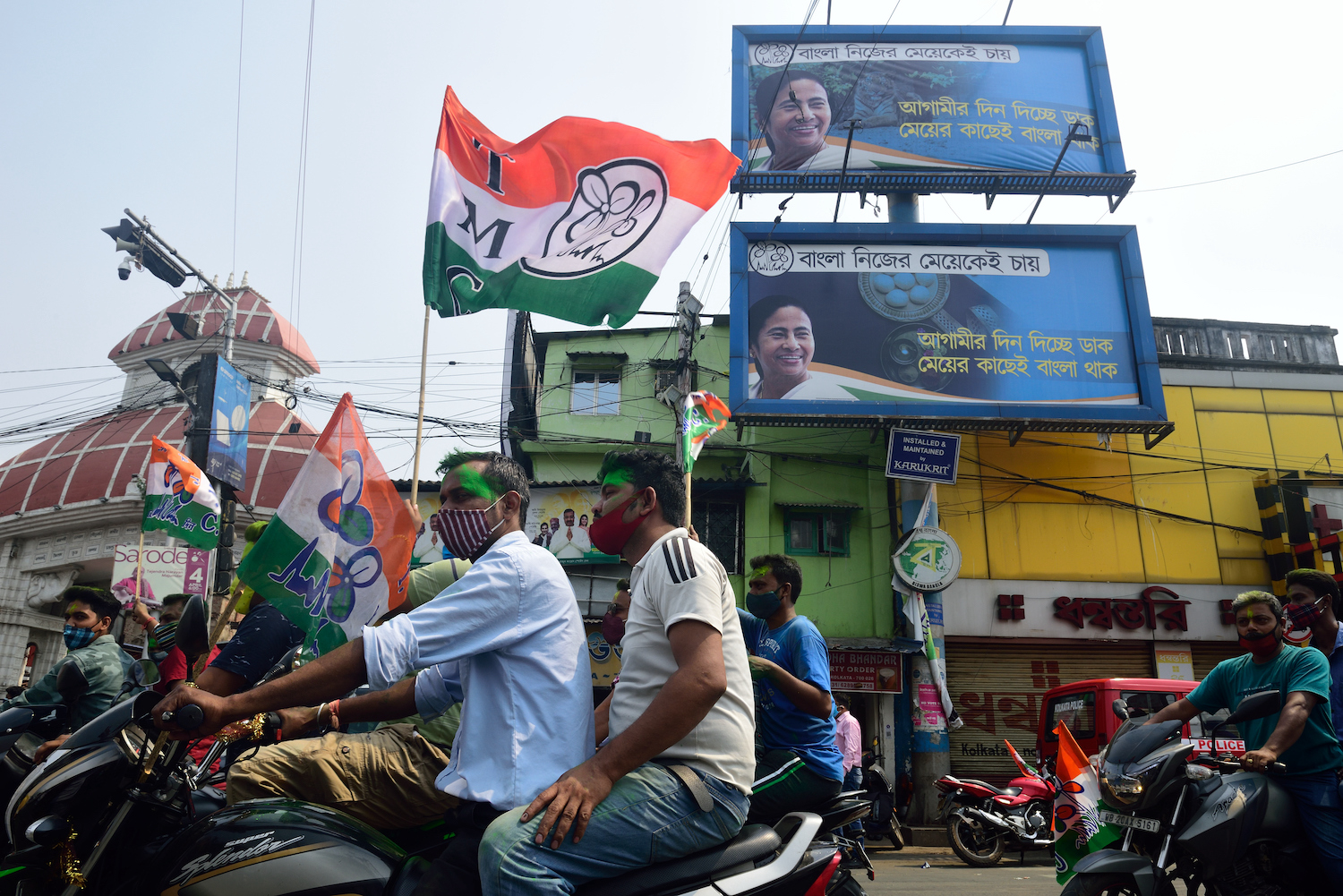 Trinamul Congress supporters celebrate the party's victory in the West Bengal elections in Kolkata, India, on May 2.