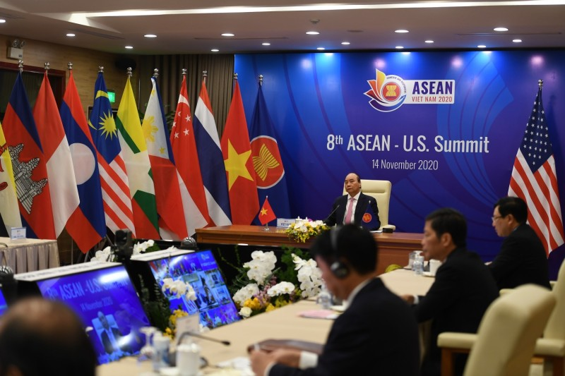 Vietnamese President Nguyen Xuan Phuc addresses counterparts at the ASEAN-U.S. summit, held via videoconference due to the coronavirus pandemic, from Hanoi on Nov. 14, 2020.