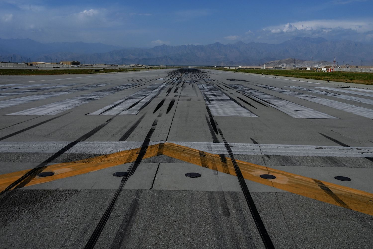 A view of the completely empty runway tarmac inside the Bagram Air Base.