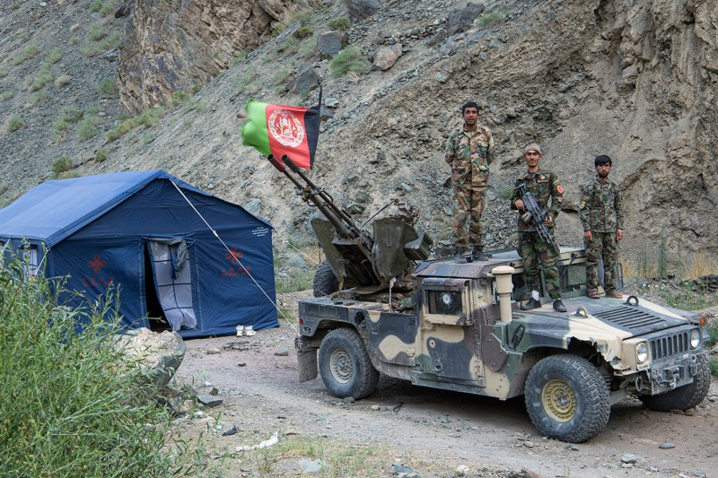 Soldiers in Afghanistan's Bamiyan province