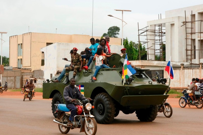 A Russian armored personnel carrier in the Central African Republic