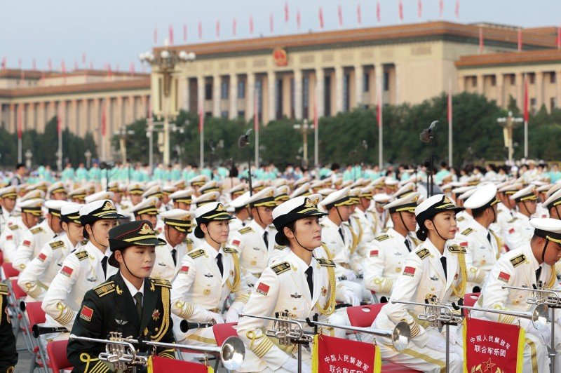 The Chinese military orchestra at Chinese Communist Party anniversary event
