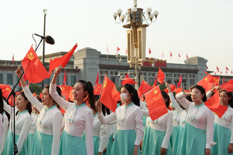 Participants rehearse in Tiananmen Square before a parade marking the 100th anniversary of the founding of the Chinese Communist Party on July 1, 2021 in Beijing, China.