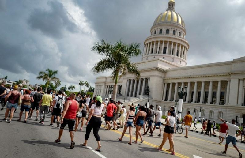 Cubans protest outside Havana's capitol.