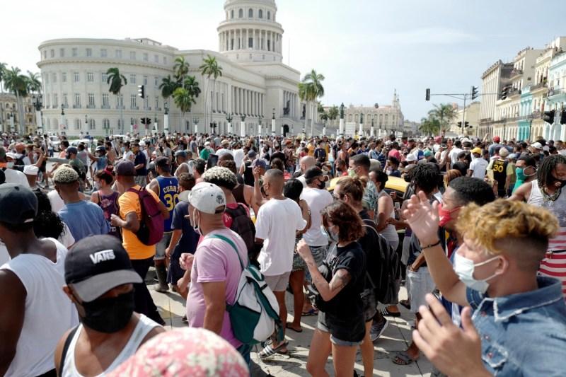 People protest in Cuba.