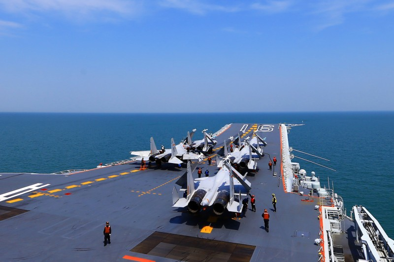 J-15 fighter jets are on China's sole operational aircraft carrier.
