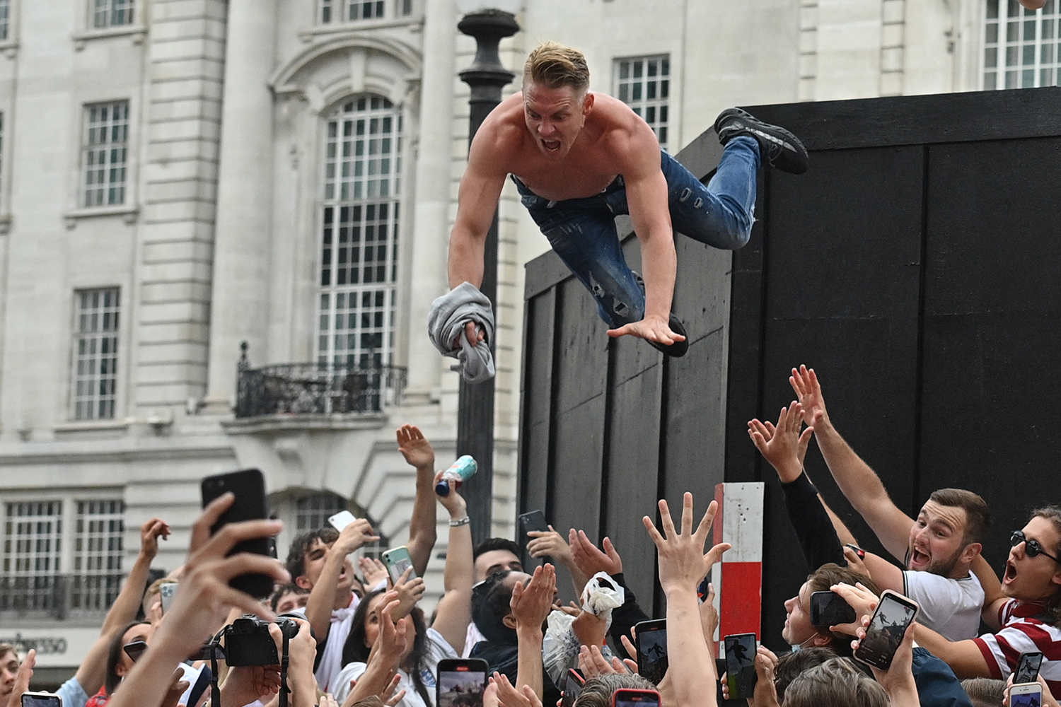 Man celebrates Euro 2020 game between England and Italy