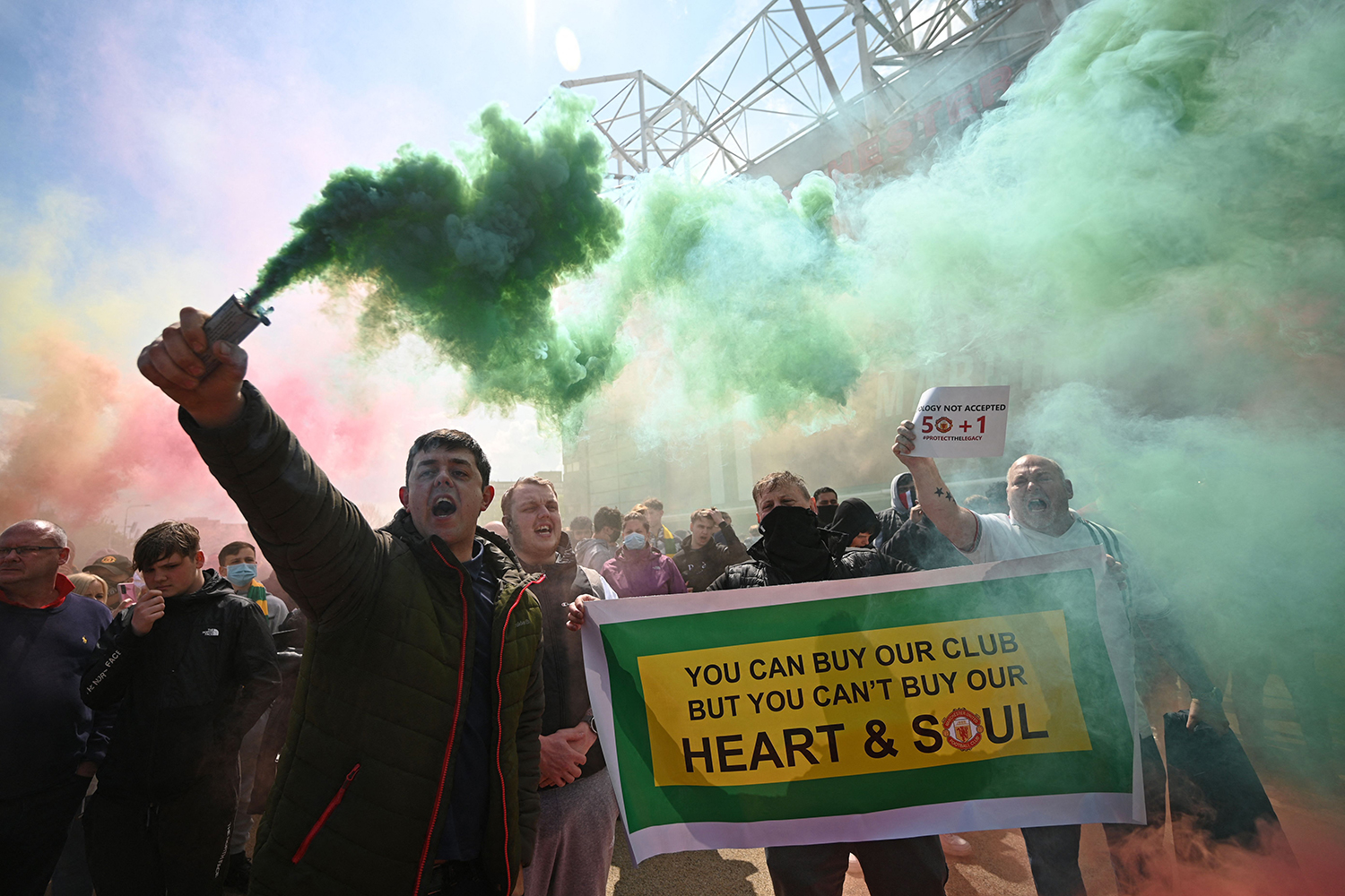 Fans protest against Manchester United's owners