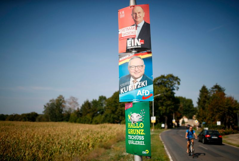 Election posters are seen in Germany.