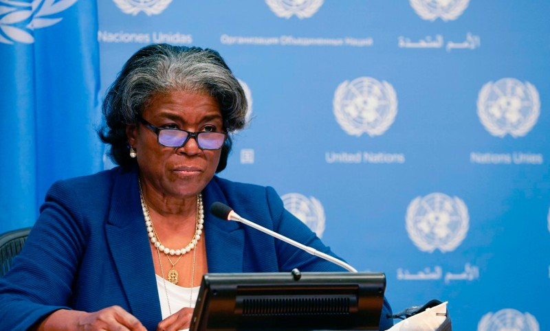 Linda Thomas-Greenfield, the U.S. ambassador to the United Nations, speaks to the press at the U.N. headquarters in New York on March 1.