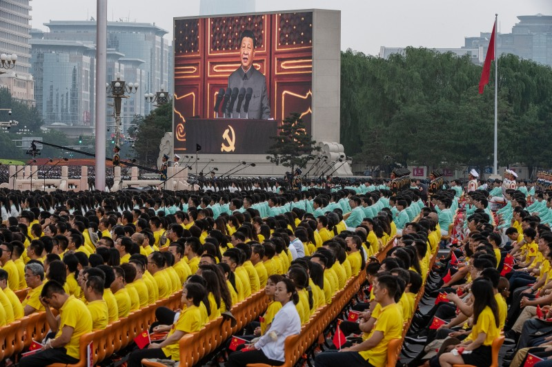 Chinese President Xi Jinping onscreen at Chinese Communist Party 100th anniversary event
