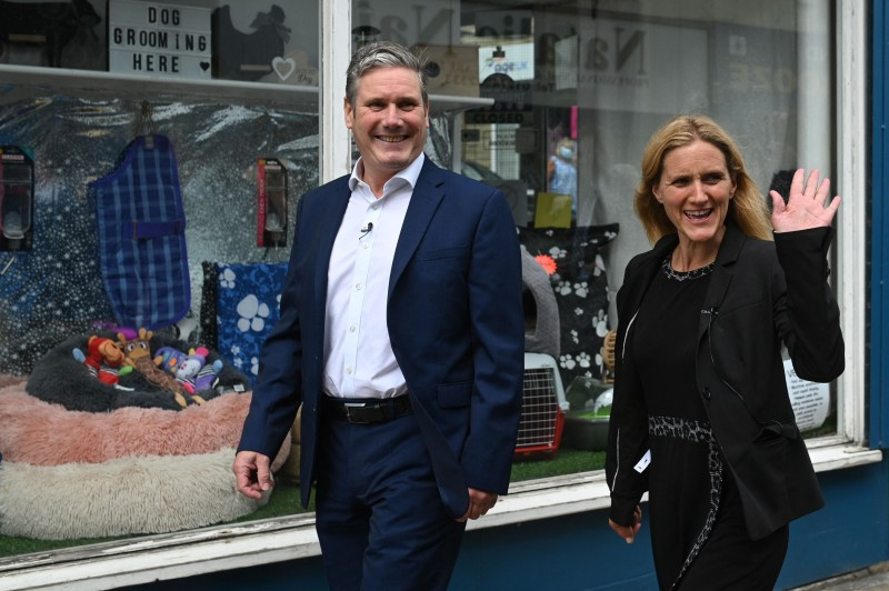 Britain's main opposition Labour Party leader Keir Starmer (left) and Labour candidate Kim Leadbeater (right