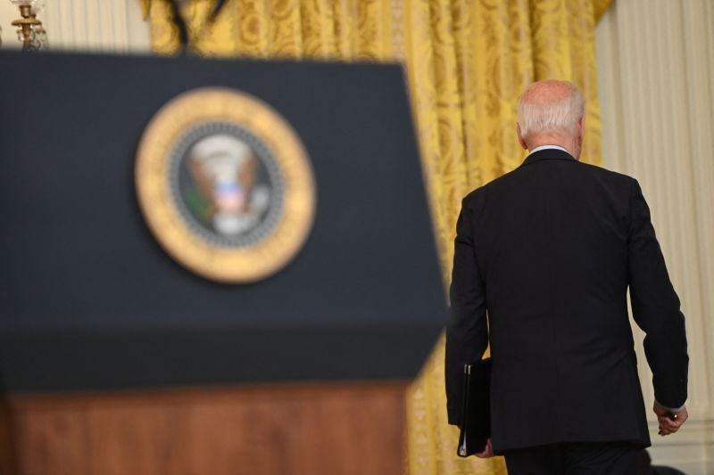 Biden leaves after discussing situation in Afghanistan.