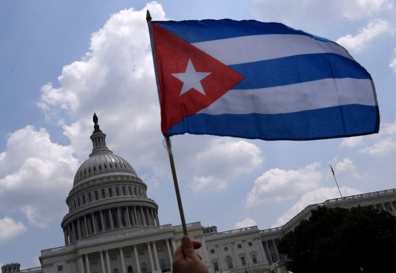 Cuban activists and supporters rally outside the U.S. Capitol in Washington on July 27.