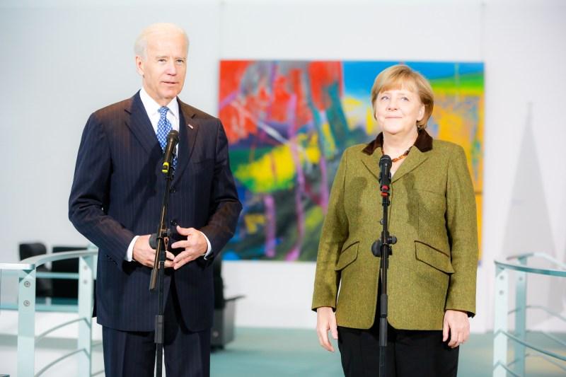 Biden and Merkel speak to the media.