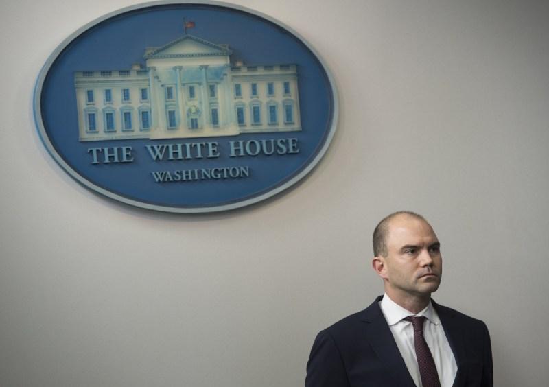Speechwriter Ben Rhodes attends press briefing.
