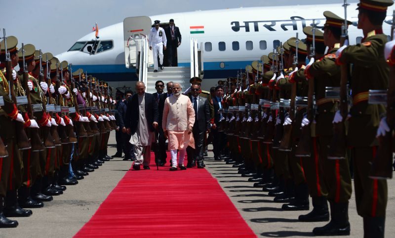 Indian Prime Minister Narendra Modi arrives ahead of the inauguration of the Salma Hydroelectric Dam in Herat, Afghanistan on June 4, 2016.