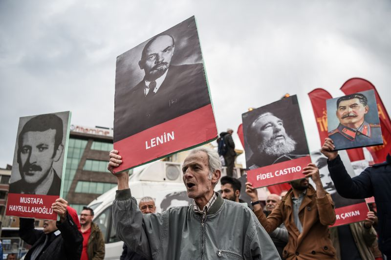 A poster of Mustafa Hayrullahoglu, late member of the Socialist Workers Party of Turkey, in the Bakirkoy district of Istanbul as part of a May Day rally on May 1, 2017.