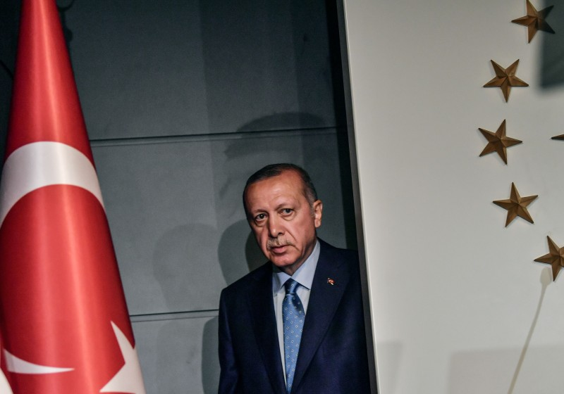 Turkish President Recep Tayyip Erdogan arrives to deliver a speech on June 24, 2018 in Istanbul.