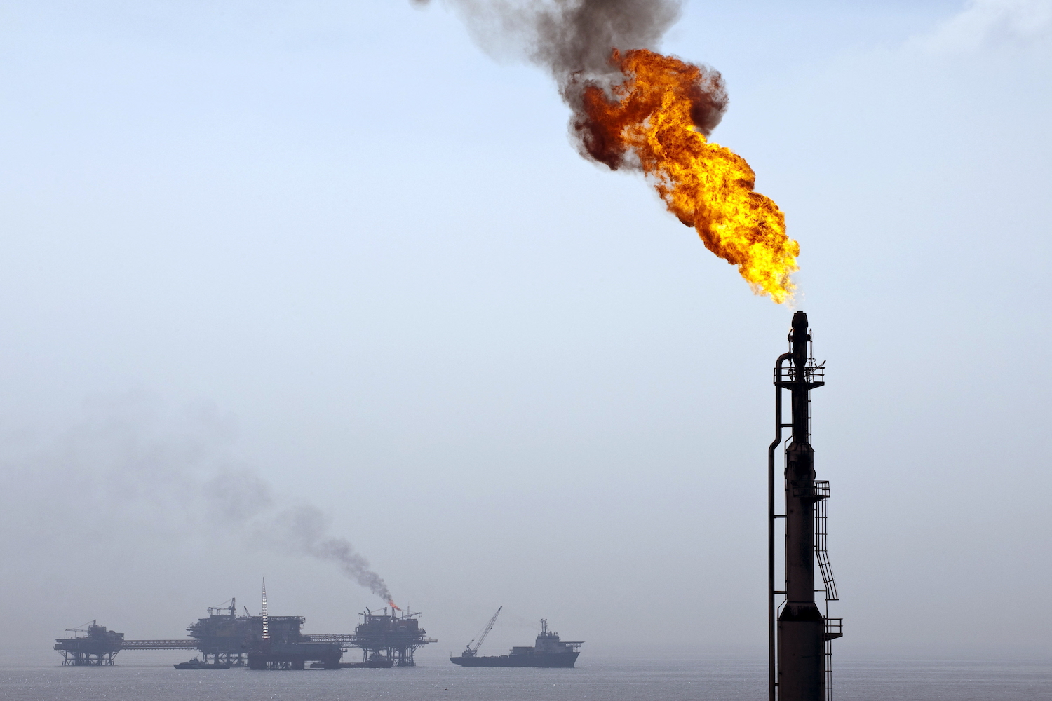 Oil rigs from the Pemex Ku-S oil processing center, part of the Ku-Maloob Zaap complex ,are seen in the Gulf of Mexico on Aug. 5, 2010.