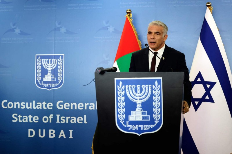 Israel's alternate Prime Minister and Foreign Minister Yair Lapid gives a press conference at the new Israeli consulate in the Gulf Emirate of Dubai, on June 30.