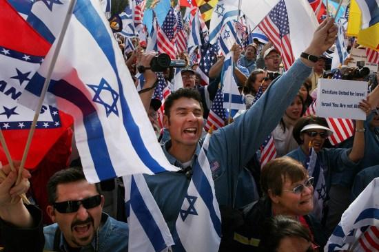Christian followers of the American evangelical pastor John Hagee cheer in Israel