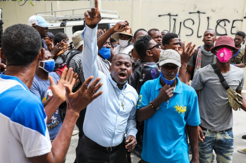 Supporters of assassinated Haitian president protest.