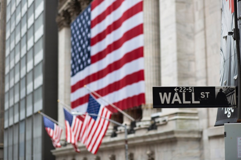 Flags fly outside the New York Stock Exchange.