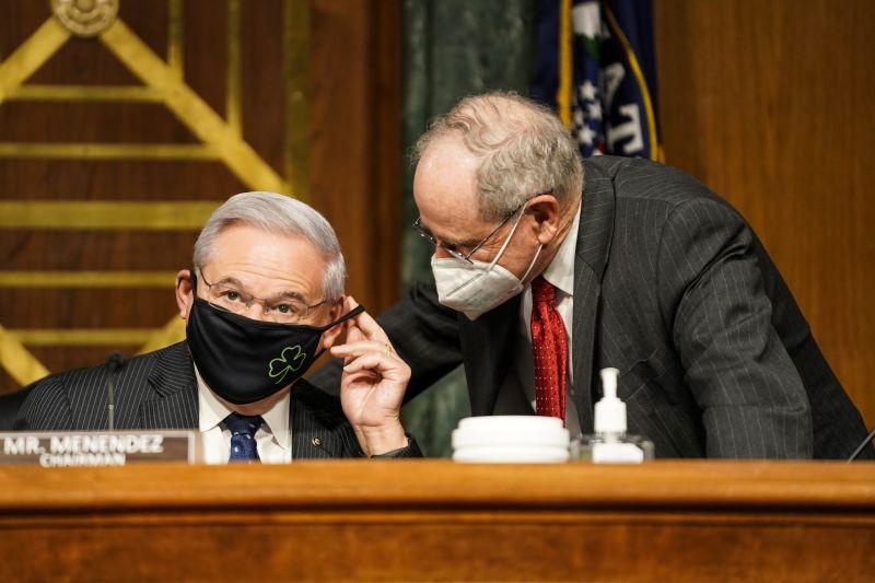 Sen. James Risch talks to Chairman of the Senate Foreign Relations Committee Robert Menendez