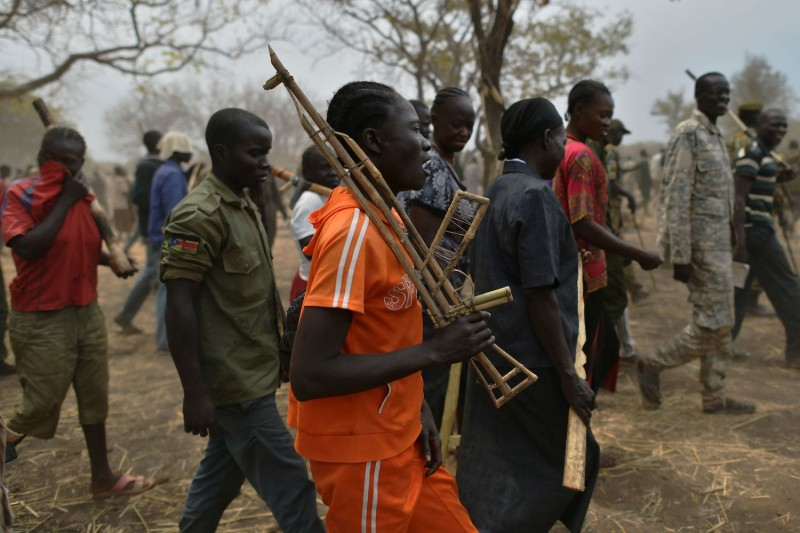 Trainee soldiers attend a reconciliation program in South Sudan.