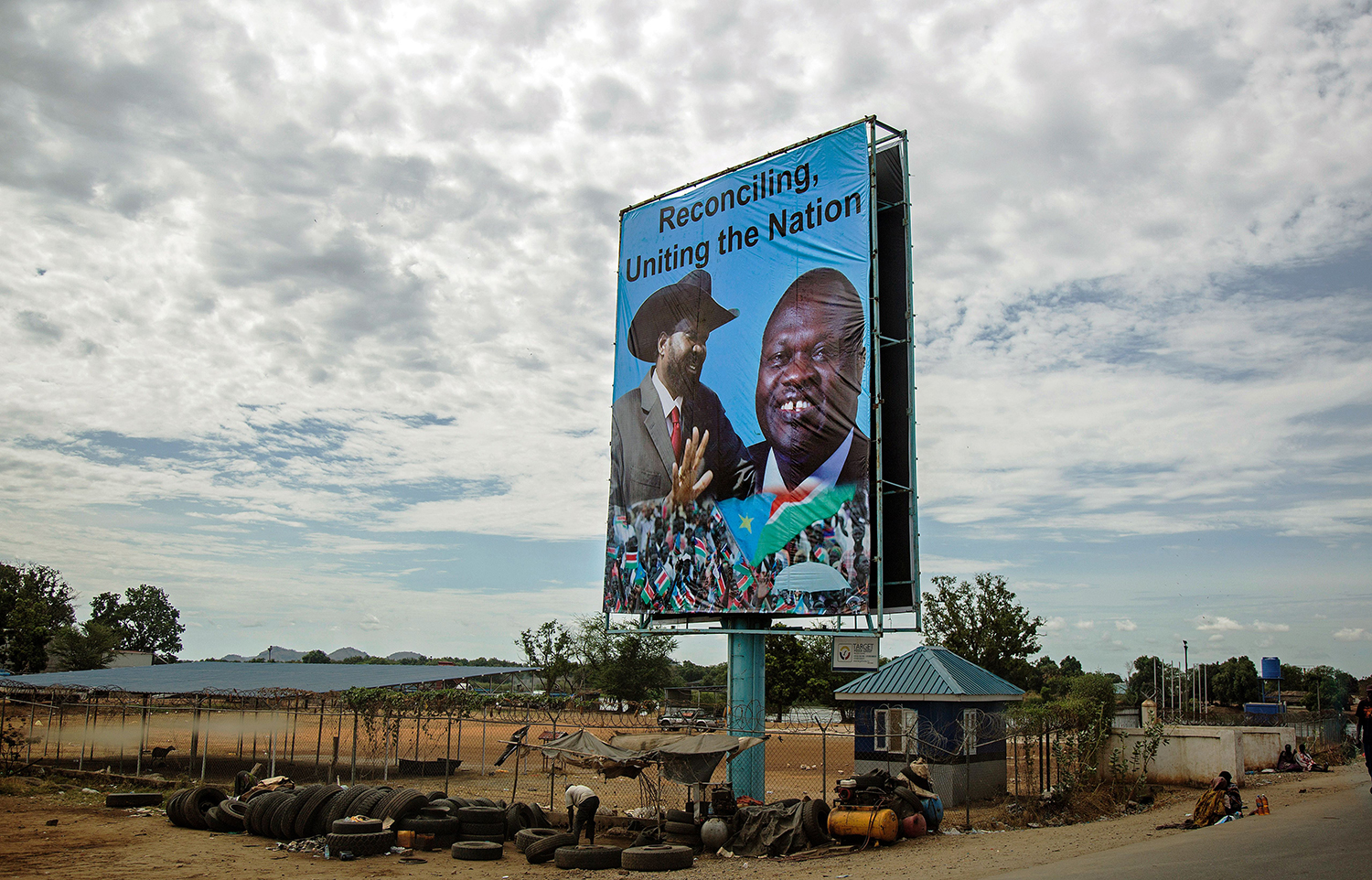 A billboard featuring portraits Kiir and the opposition leader Riek Machar is displayed in Juba, South Sudan, on April 14, 2016.