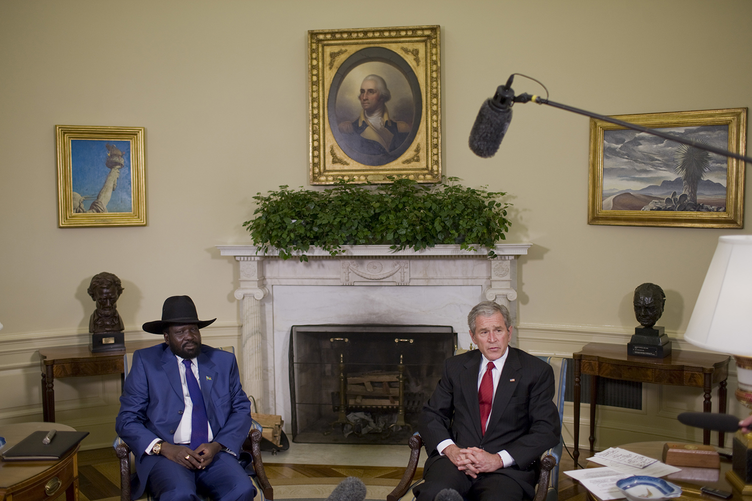 U.S. President George W. Bush meets with Kiir, then Sudan's first vice, in the Oval Office at the White House in Washington on Jan. 5, 2009.