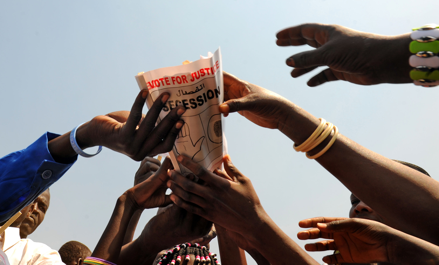 Southern Sudanese celebrate the coming independence referendum at a separation rally held at the John Garang mausoleum in Juba on Jan. 7, 2011.